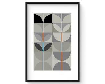 NIGHT SWAN no.4 - Giclee Print - Abstract Mid Century Modern Design