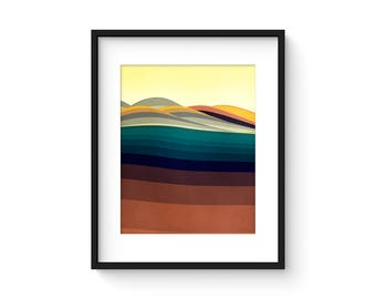 FOOTHILLS no.55 - Mid Century Style Modernist Abstract Landscape Print