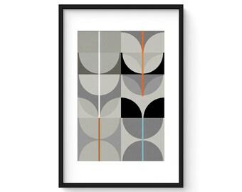 NIGHT SWAN no.2 - Giclee Print - Abstract Mid Century Modern Design