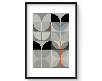 NIGHT SWAN no.3 - Giclee Print - Abstract Mid Century Modern Design