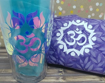Matching Yoga mat bag and eco friendly cup set