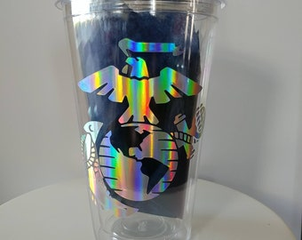 Customized BPA free tumbler with decal, double walled, 18.oz tumbler.