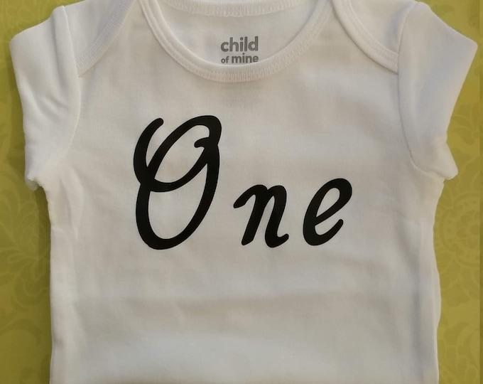 One Onesie, First Birthday onesie, Baby onesie, custom made onesie.