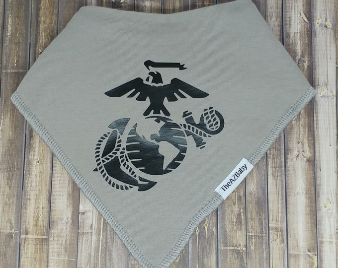 100% Cotton Baby Bib, bandanna style. Marine Corps.