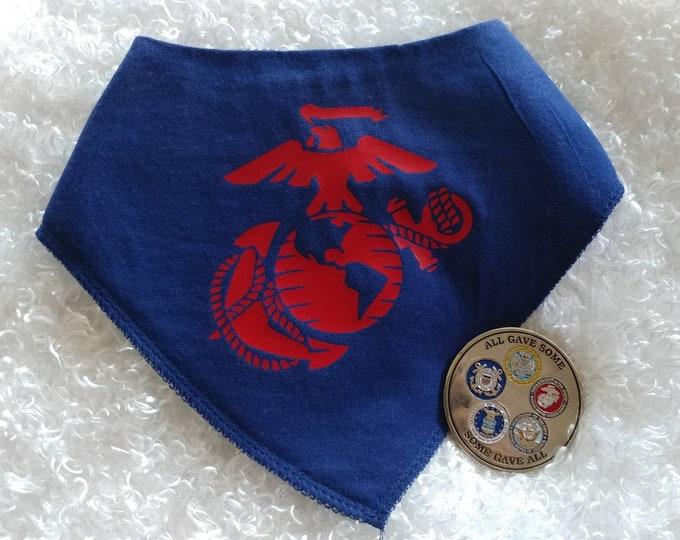 100% Cotton Baby Bib, bandanna style. Marine Corps. Dress Blues Baby Bib