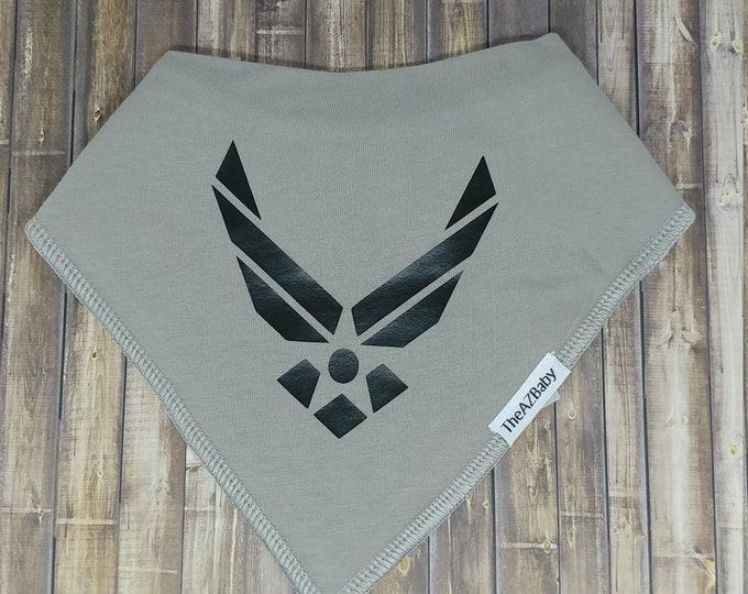 Air force, 100% Cotton Baby Bib, bandanna style.