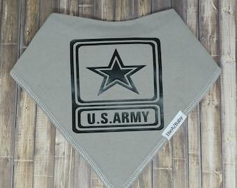 Army, 100% Cotton Baby Bib, bandanna style.