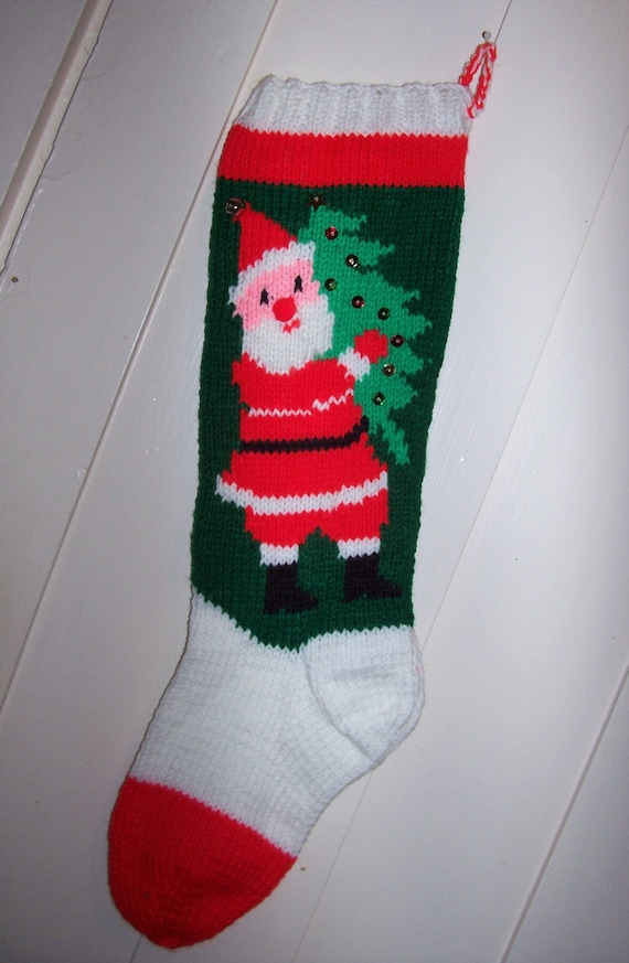 Hand Knit Christmas Stocking Santa Personalized: for Christmas   Etsy