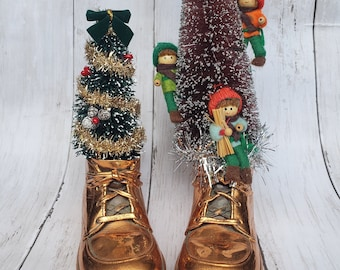 Bronze Bootie Christmas Decoration Vintage Holiday Ornaments