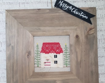 Christmas Cottage Red Wall Art Embroidery Holiday Decor