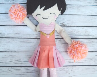 Cheerleader Doll Handmade Softie Doll Grace the Cheerleader