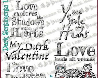 Dark Sentiments Set 1 - set of 5 Sentiments (2 are originals) - Dark Valentine Collection by Leigh Snaith-Brunton of LeighSBDesigns