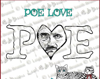 Poe Love - a love tribute design to Edgar Allan Poe!  Instant downloadable digi art stamp by Leigh Snaith-Brunton, LeighSBDesigns
