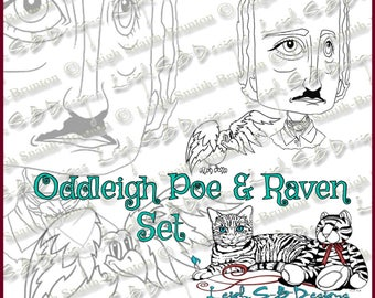 Oddleigh Poe & Raven, quirky caricature Poe portrait and pet Raven digi stamp set by Leigh Snaith-Brunton of LeighSBDesigns
