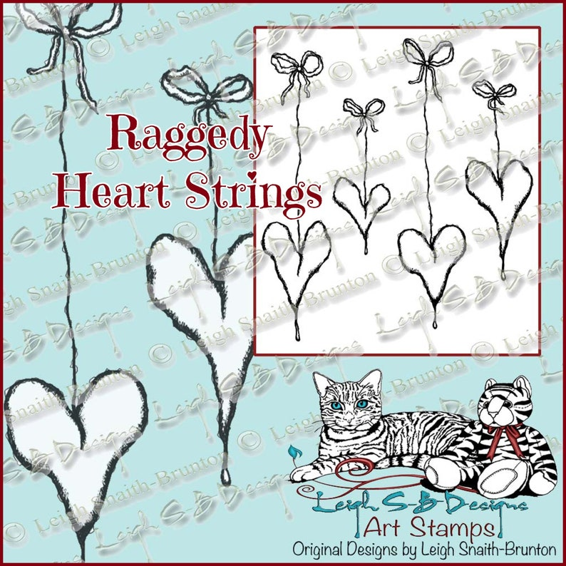 Raggedy Heart Strings  4 grungy distressed hearts dangling on image 0