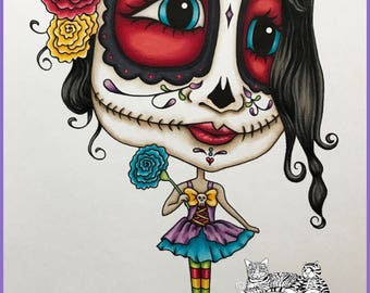 NEW!  Miss Oddleigh Catrina - Dia de Muertos, Day of the Dead, stylized quirky caricature digi stamp set