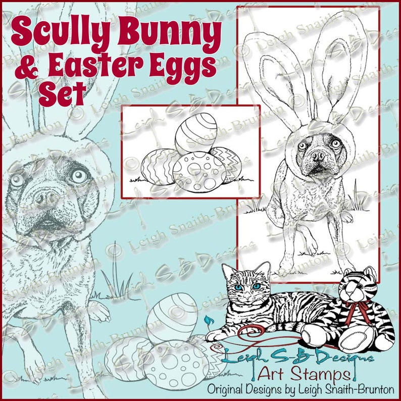 Scully Bunny & Easter Eggs set of 2  Boston Terrier wearing image 0