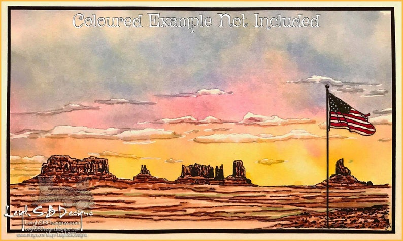 Monument Valley USA  realistic pen & ink line art landscape image 0