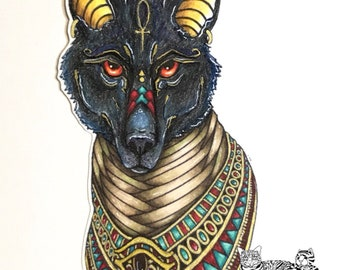 NEW - Anubis Bust - Egyptian god of the Dead - digi art stamp of a fantasy Egyptian wolf adorned with mummy bandages and an Egyptian collar