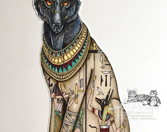 NEW - Anubis - Egyptian god of the Dead - digi art stamp of a fantasy sitting wolf adorned with hieroglyphs & Egyptian jewelry