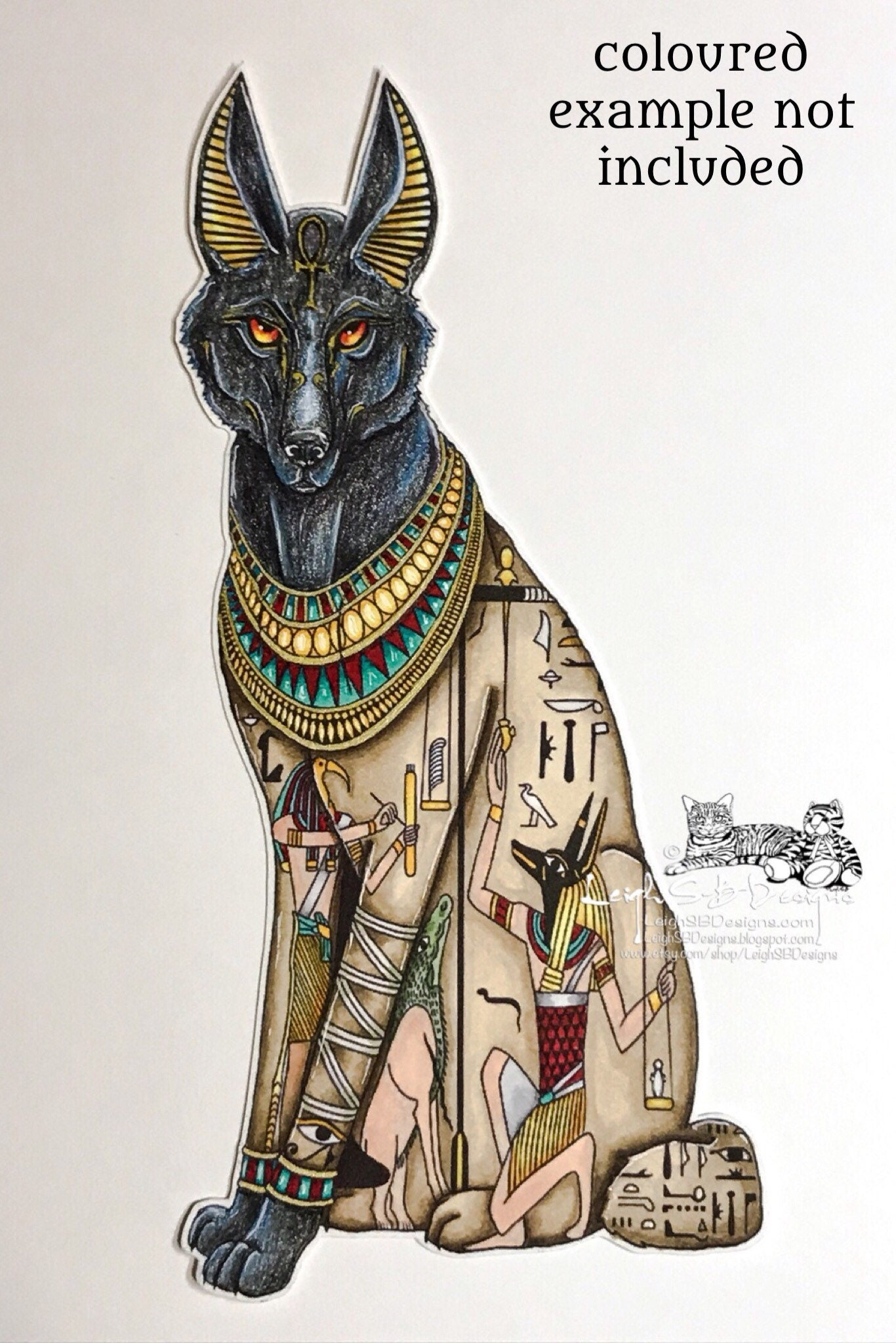 Anubis Egyptian God Of The Dead Digi Art Stamp Of A Etsy