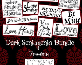 DARK SENTIMENTS BUNDLE of 11 sentiments (set 1 & 2) + the Love text - Dark Valentine Collection by LeighSBDesigns