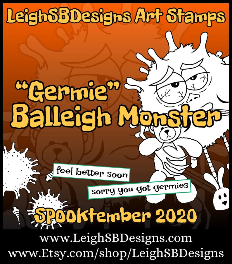 Germie BALLEIGH MONSTER set  whimsically quirky cute digi art image 0