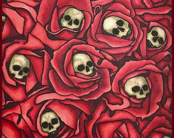Skull Roses Collage - Dark Valentine Collection by Leigh Snaith-Brunton of LeighSBDesigns
