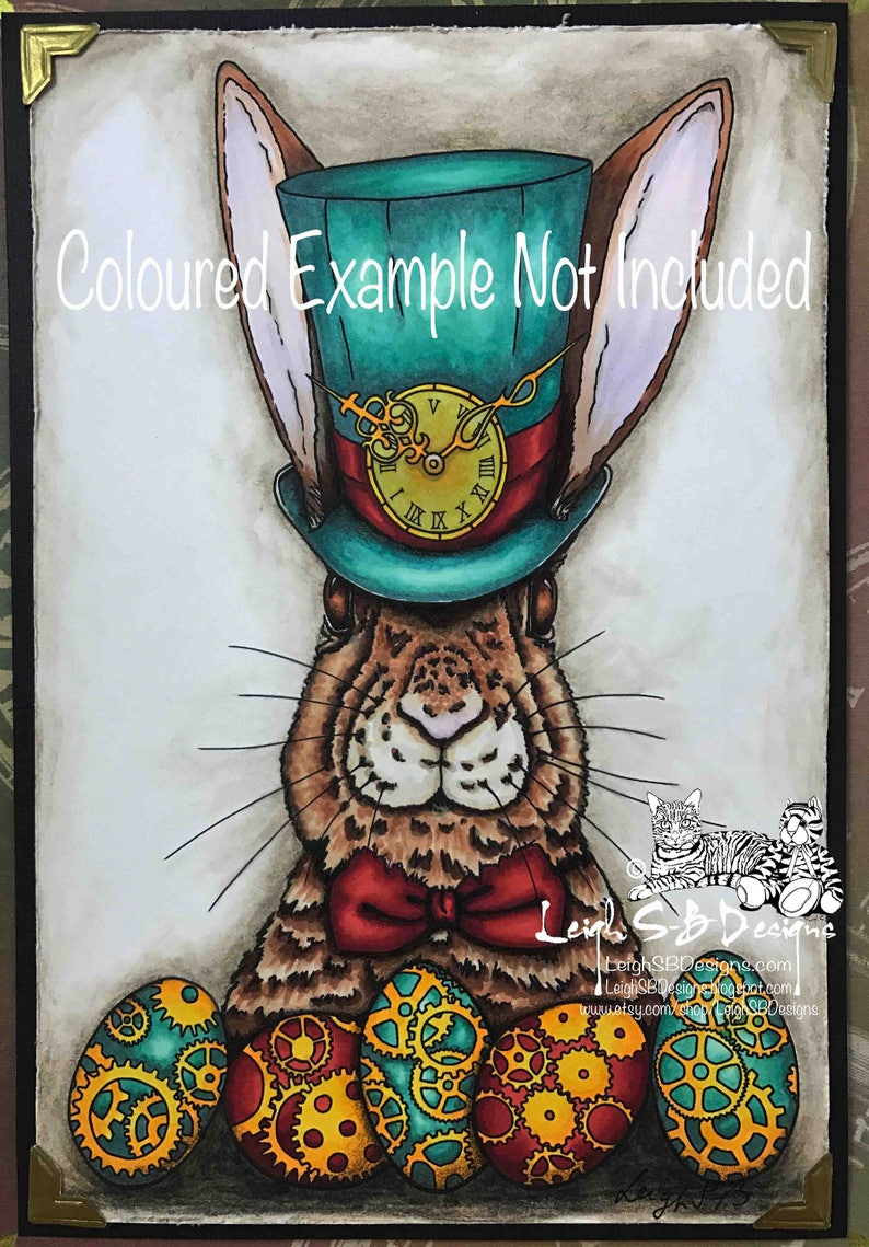 Whimsical Steampunk Easter Bunny digi stamp available for image 0