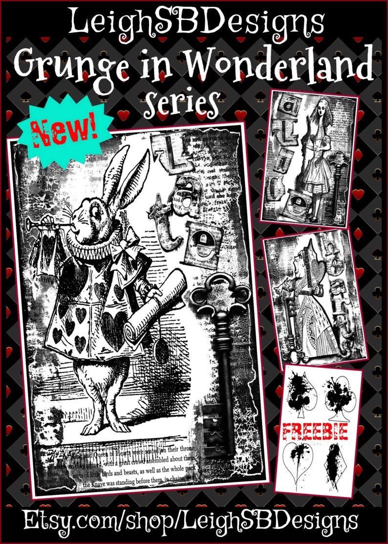 Freebie Bundle 2 Grunge In Wonderland Series Set Of 3 Etsy