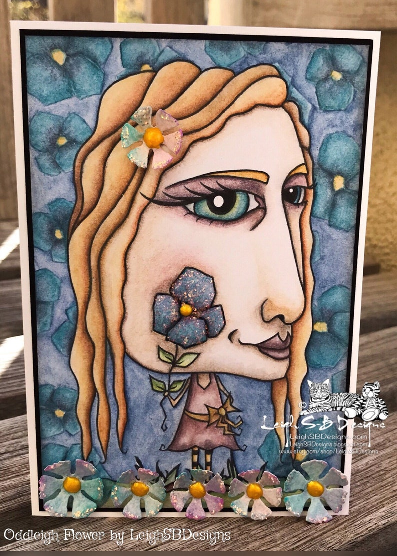 Whimsical Miss Oddleigh Flower stylized quirky caricature digi image 0