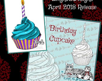 Birthday Cupcake digi stamp by LeighSBDesigns