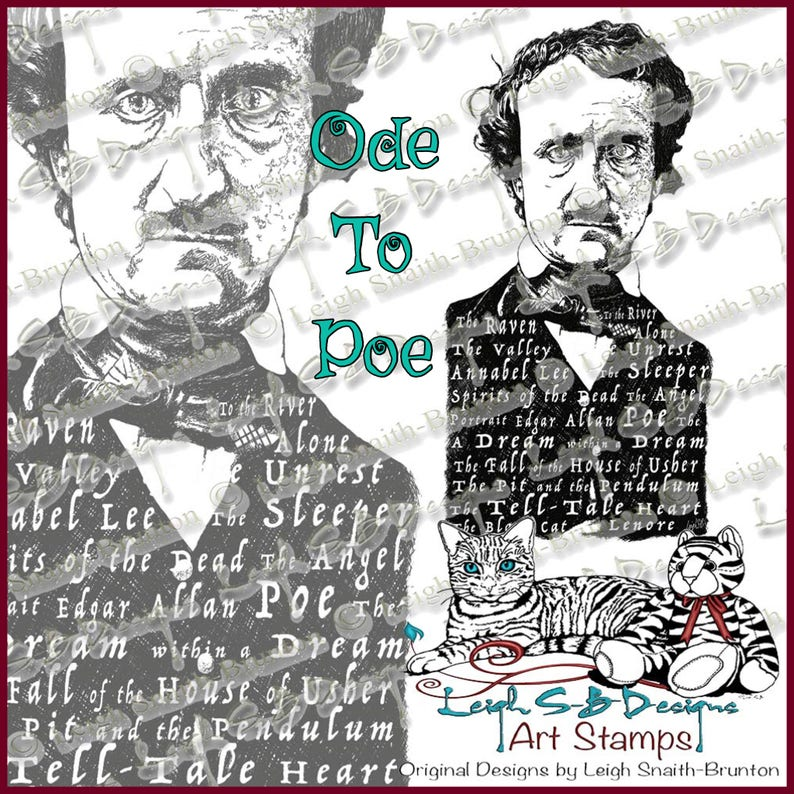 Ode to Poe realistic Poe portrait decorated with the titles image 0