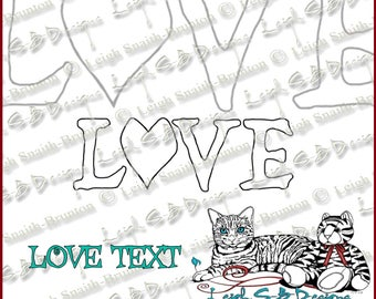 Love text digi stamp - Dark Valentine Collection by Leigh Snaith-Brunton of LeighSBDesigns
