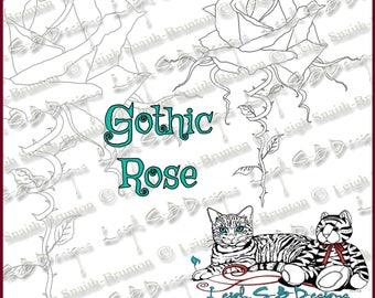 Gothic Rose - Dark Valentine collection, original art by Leigh Snaith-Brunton, LeighSBDesigns. Instant digi download!