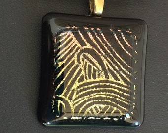 Square Black and Dichroic Fused Glass Pendant, Black Framed Dichroic Glass Pendant, Art Deco Black and Gold Glass Pendant