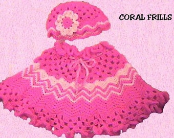 Pink a Boo Girls Poncho and Hat CROCHET PATTERN INSTANT | Etsy
