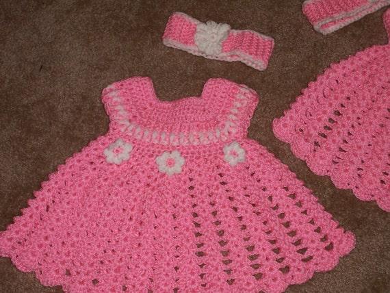 Baby Flower Dress Hat Headband Crochet Pattern Newborn Month Etsy