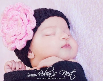 Newborn Beanie Hat Cap Photo Prop, Black with Pink Flower Pin