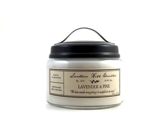 Lavender and Pine Candle - Scented Candle - Aromatherapy Candle - Lavender Candle - Pine Candle - Jar Candle - Candle with metal handle lid
