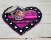 Valentines Day Candle Mat- Heart- Pink and Gray