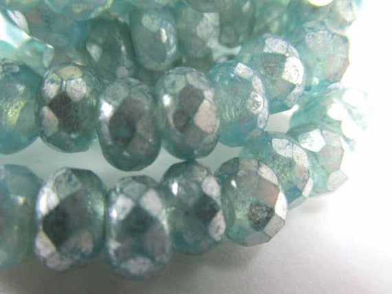 Aqua Lined Crystal 25 5 x 9mm Czech Glass Roller Beads