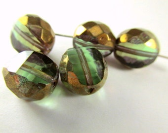 Olive Green and Copper Czech Glass 12mm Faceted Sliced Round Jewelry Beads (5)