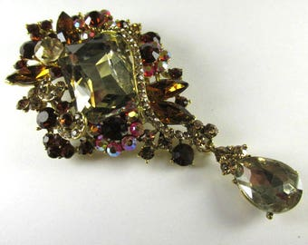 Large Rectangular Light and Dark Topaz, and Topaz AB Crystal 3.75 Inch Cascading Teardrop Brooch in Gold Setting