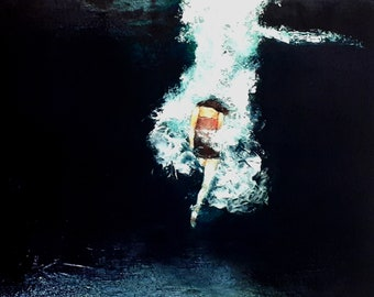 "Girl in water painting print/swimming figure/woman swim wall art print ""Submerged"""