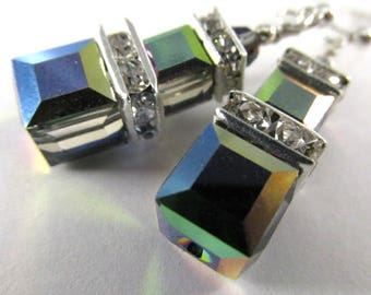Swarovski Vitrail Medium Double Stack Multicolor Square Cube Earrings on Sterling Silver Wires - great bridesmaid earrings