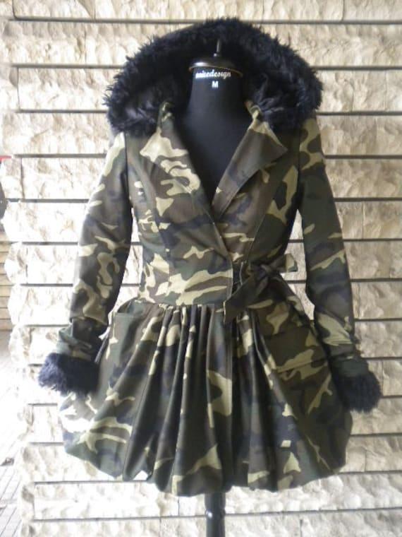 Elegante Damen Camouflage Jacke Mantel wolle Futter flauschig Teile