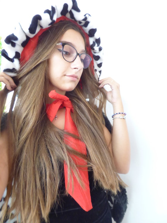 Fluffy Cloak with Red Ribbon and Dalmatian Print