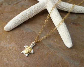 Fine Silver Turtle Pendant accented with 24Kt Gold on 14kt Gold Filled Chain Necklace