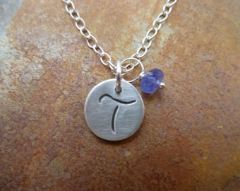 Fine Silver Small Round Initial Tag and Birthstone- Custom Order to add to existing necklace